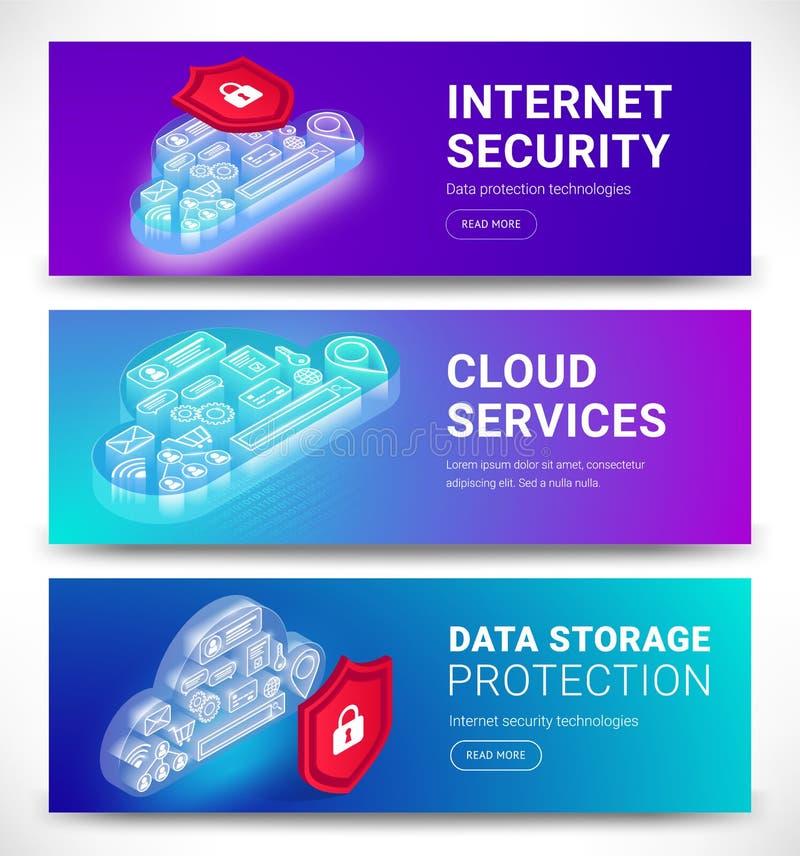 Εμβλήματα υπηρεσιών σύννεφων καθορισμένα απεικόνιση αποθεμάτων