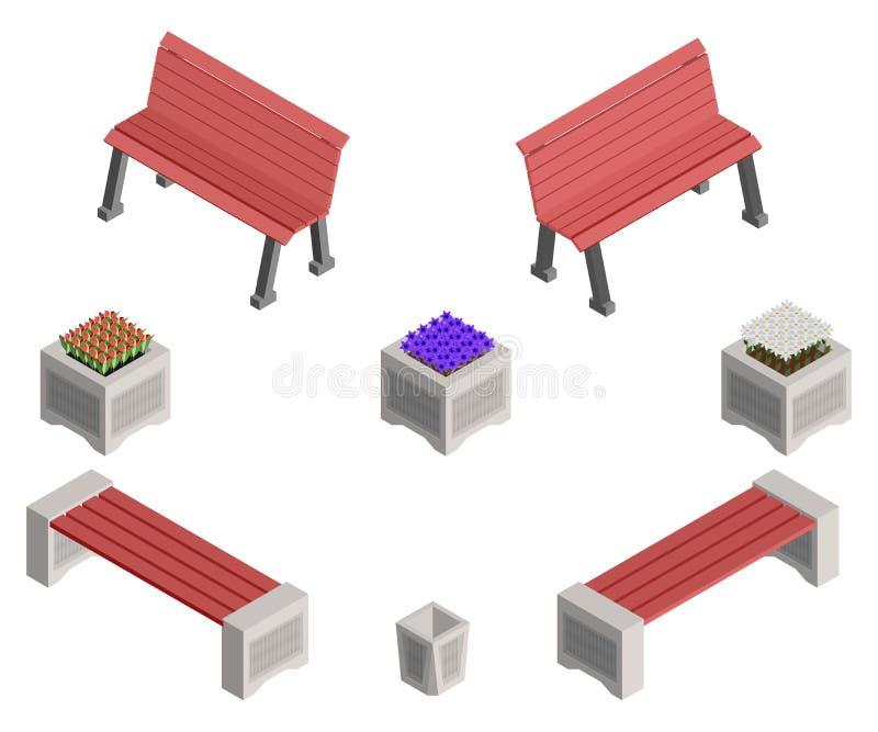 Isometric πάγκοι και κρεβάτια λουλουδιών με τα λουλούδια διανυσματική απεικόνιση