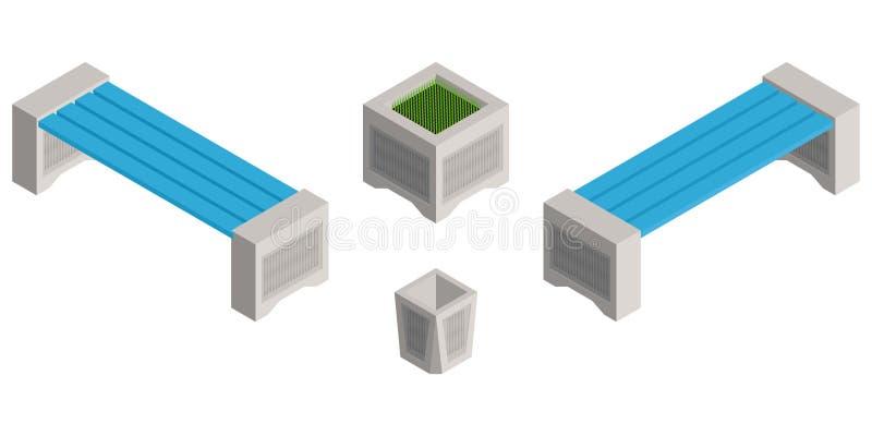 Isometric πάγκοι στο πάρκο και ένα δοχείο απορριμάτων διανυσματική απεικόνιση