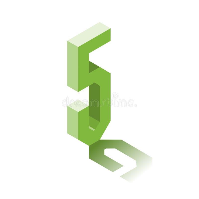 Isometric πέντε πράσινο εικονίδιο, τρισδιάστατος χαρακτήρας με τη σκιά απεικόνιση αποθεμάτων