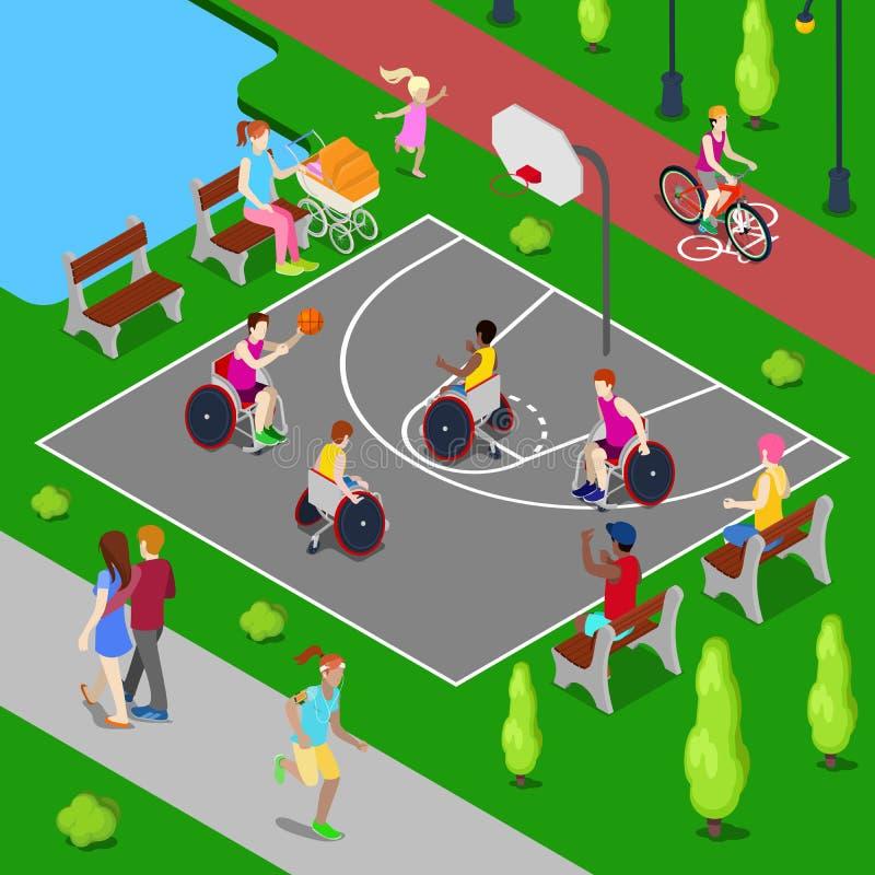 Isometric παιδική χαρά καλαθοσφαίρισης Με ειδικές ανάγκες άτομα που παίζουν την καλαθοσφαίριση στο πάρκο διάνυσμα ελεύθερη απεικόνιση δικαιώματος