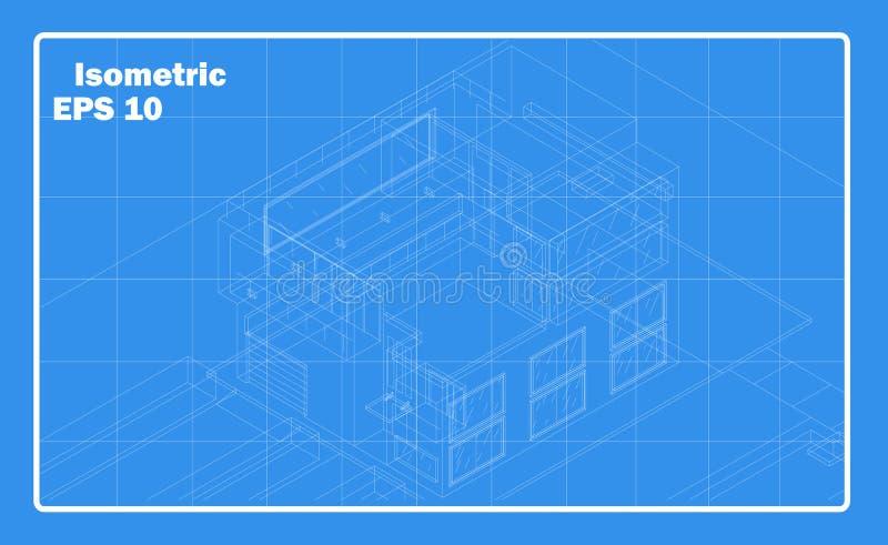Isometric περίληψη σπιτιών Σχηματικό κτήριο στοκ φωτογραφίες