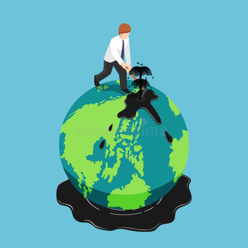 Isometric πετρέλαιο επιχειρηματιών diggin στη γήινη σφαίρα απεικόνιση αποθεμάτων