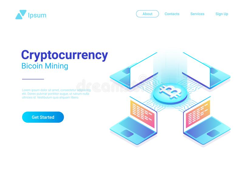 Isometric πλατφόρμα εμπορικών συναλλαγών Cryptocurrency Bitcoin απεικόνιση αποθεμάτων