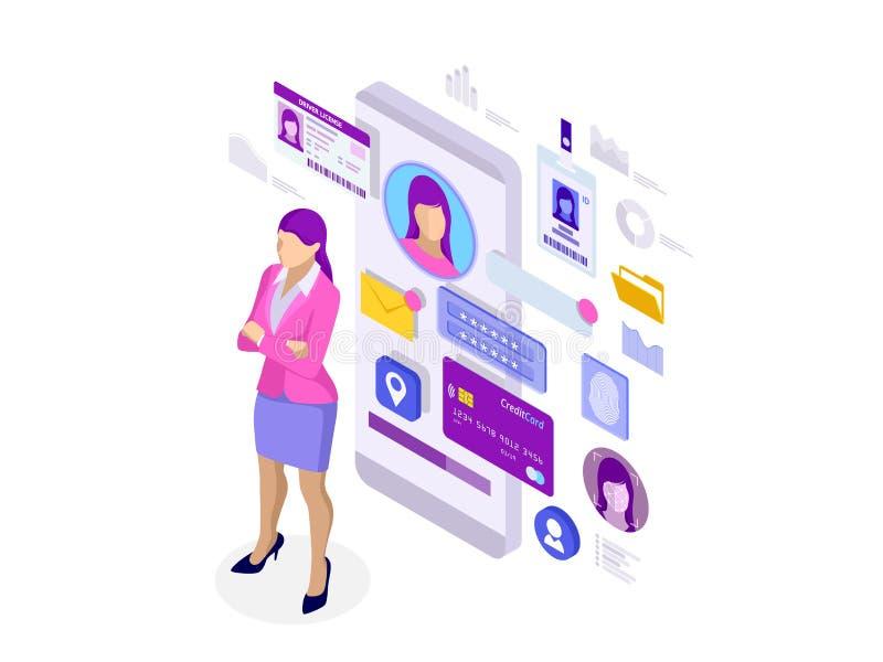 Isometric πληροφορίες App, ιδιωτική έννοια προσωπικών στοιχείων ταυτότητας Τα ψηφιακά στοιχεία εξασφαλίζουν το έμβλημα Τεχνολογία ελεύθερη απεικόνιση δικαιώματος