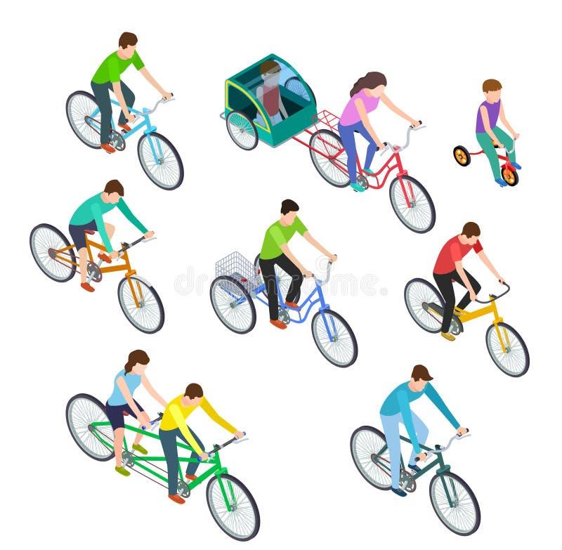 Isometric ποδήλατο ανθρώπων Οδηγώντας ποδήλατα γυναικών ανδρών υπαίθρια, bicyclists Ενεργό οικογενειακό Τρισδιάστατο διάνυσμα ποδ ελεύθερη απεικόνιση δικαιώματος