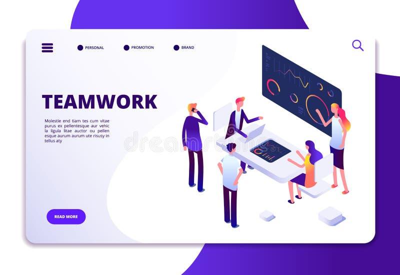 Isometric προσγειωμένος σελίδα ομαδικής εργασίας Επιχειρηματίες κινούμενων σχεδίων που εργάζονται στο γραφείο γραφείων με τους υπ απεικόνιση αποθεμάτων