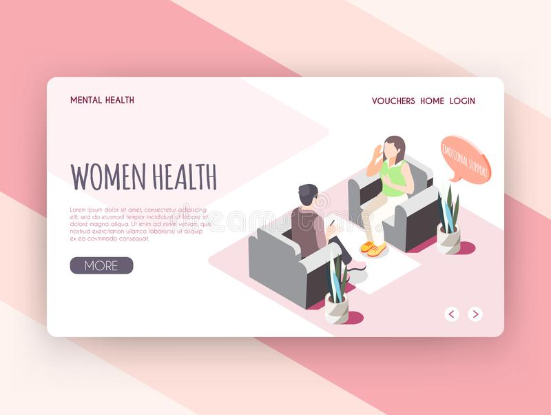 Isometric προσγειωμένος σελίδα υγείας γυναικών διανυσματική απεικόνιση