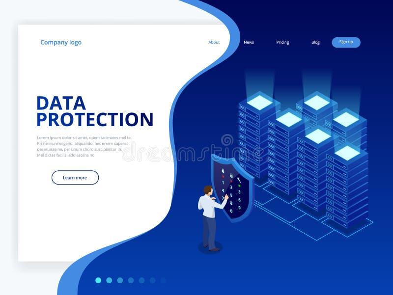 Isometric προσωπική έννοια εμβλημάτων Ιστού προστασίας δεδομένων Ασφάλεια και ιδιωτικότητα Cyber Κρυπτογράφηση κυκλοφορίας, VPN,  διανυσματική απεικόνιση