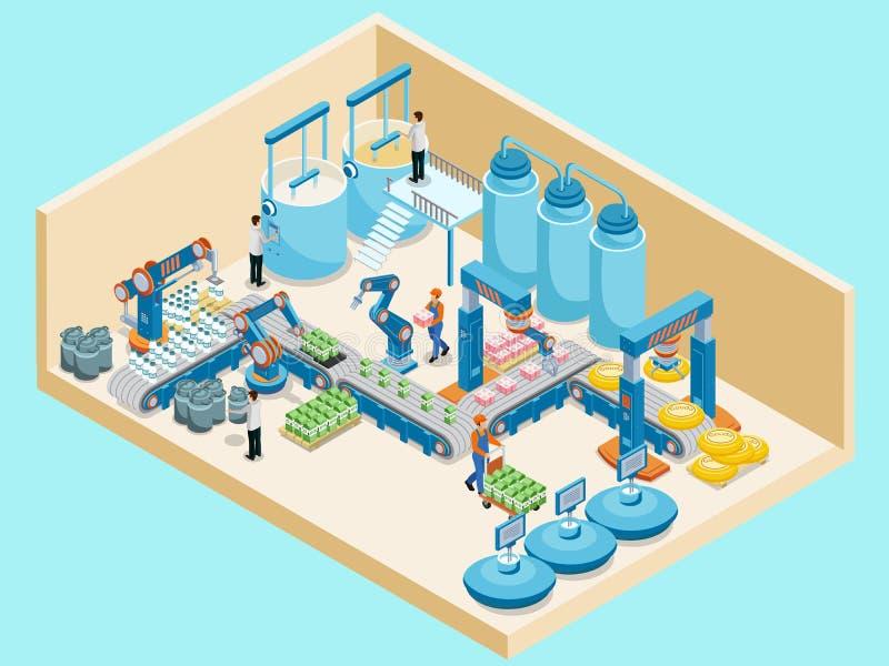 Isometric πρότυπο γαλακτοκομικών εγκαταστάσεων απεικόνιση αποθεμάτων