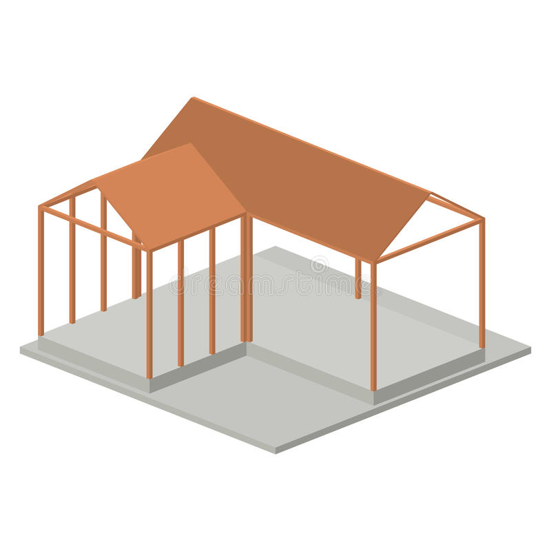 Isometric πρότυπο σχέδιο αρχιτεκτονικής σπιτιών ελεύθερη απεικόνιση δικαιώματος
