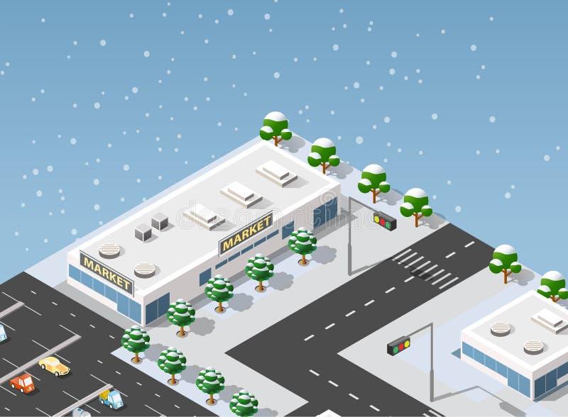 Isometric πόλη απεικόνισης υπεραγορών απεικόνιση αποθεμάτων