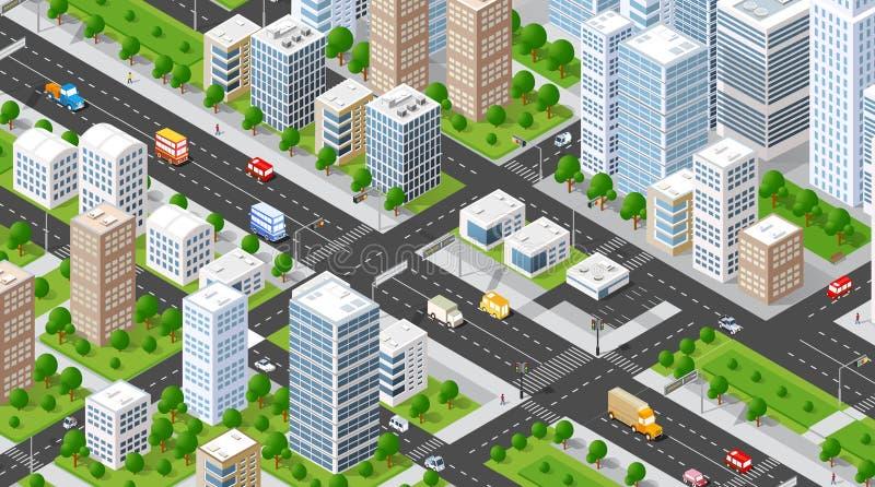 Isometric πόλη απεικόνισης διανυσματική απεικόνιση