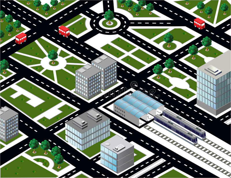 Isometric πόλη απεικόνιση αποθεμάτων