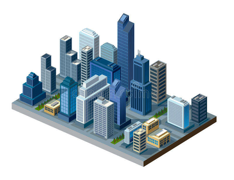 Isometric πόλη ελεύθερη απεικόνιση δικαιώματος