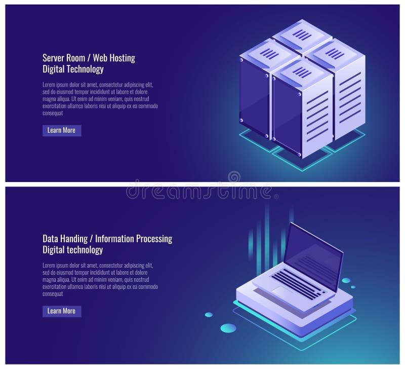 Isometric ράφι δωματίων κεντρικών υπολογιστών, φιλοξενία Ιστού, αποθήκευση στοιχείων σύννεφων, στοιχεία που δίνει, επεξεργασία πλ διανυσματική απεικόνιση