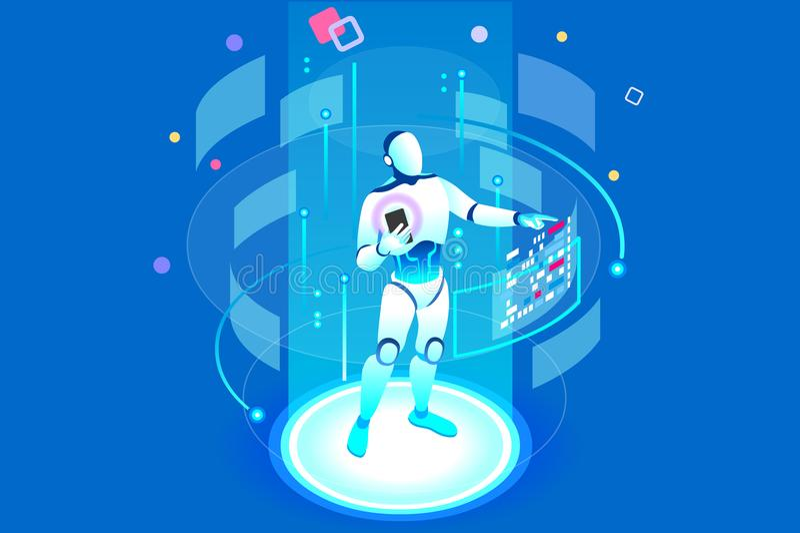 Isometric ρομπότ τεχνητής νοημοσύνης ελεύθερη απεικόνιση δικαιώματος