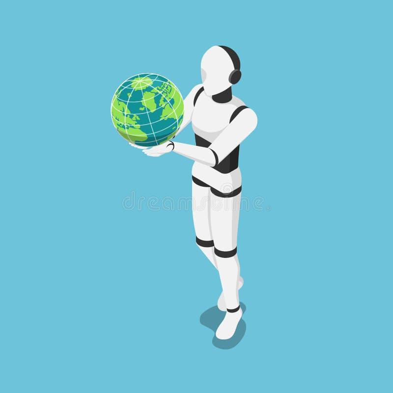 Isometric ρομπότ AI που κρατά τη σφαίρα κόσμων ή γης ελεύθερη απεικόνιση δικαιώματος