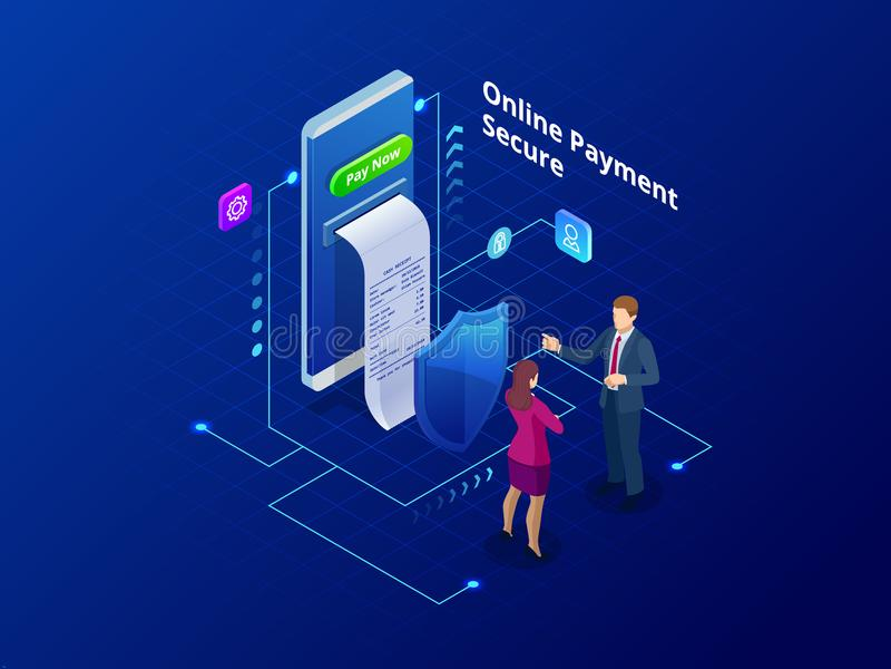 Isometric σε απευθείας σύνδεση σε απευθείας σύνδεση έννοια πληρωμής Πληρωμές Διαδικτύου, μεταφορά χρημάτων προστασίας, σε απευθεί απεικόνιση αποθεμάτων