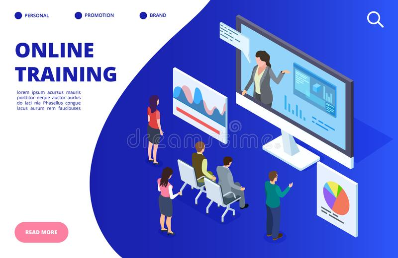 Isometric σε απευθείας σύνδεση τηλεοπτική κατάρτιση, webinar διανυσματική απεικόνιση Σε απευθείας σύνδεση έμβλημα εκπαίδευσης, έν απεικόνιση αποθεμάτων