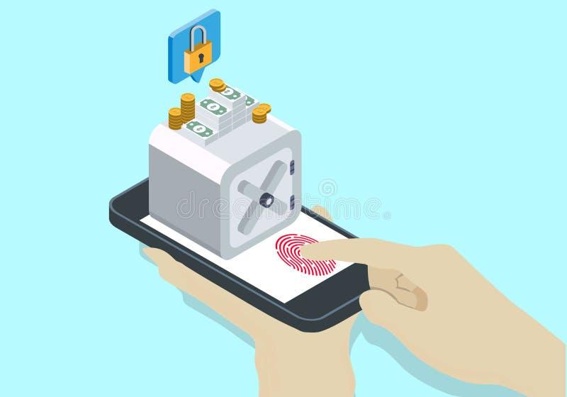 Isometric σε απευθείας σύνδεση ασφάλεια τραπεζών ελεύθερη απεικόνιση δικαιώματος