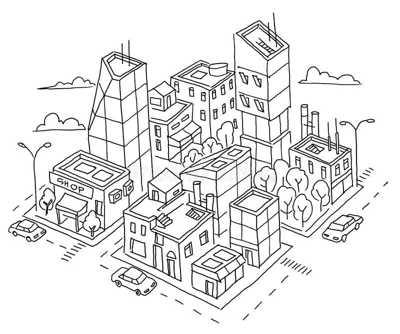 Isometric σκίτσο πόλεων τετάρτων μεγάλο Ουρανοξύστες και πολυκατοικίες Κέντρο πόλεων εγχώριας αρχιτεκτονικής Συρμένος ο χέρι Μαύρ απεικόνιση αποθεμάτων