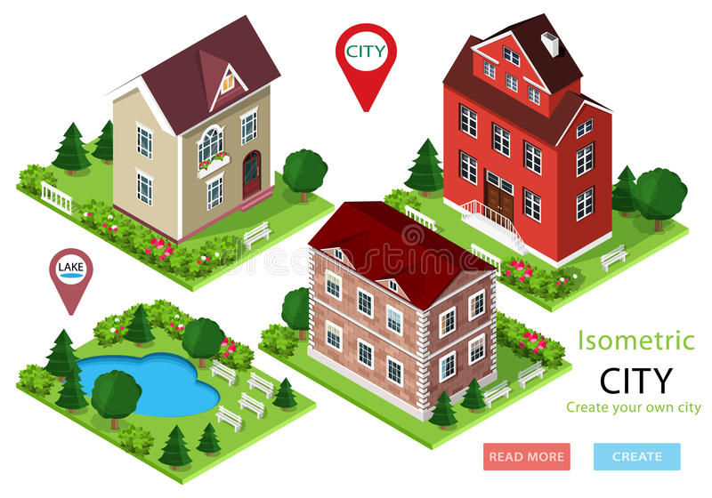 Isometric σπίτια πόλεων με τα πράσινους ναυπηγεία, τα δέντρα, τους πάγκους και το πάρκο με τη λίμνη Σύνολο χαριτωμένων λεπτομερών ελεύθερη απεικόνιση δικαιώματος