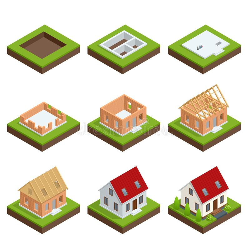 Isometric σταδιακή κατασκευή συνόλου ενός σπιτιού τούβλου Διαδικασία οικοδόμησης ελεύθερη απεικόνιση δικαιώματος