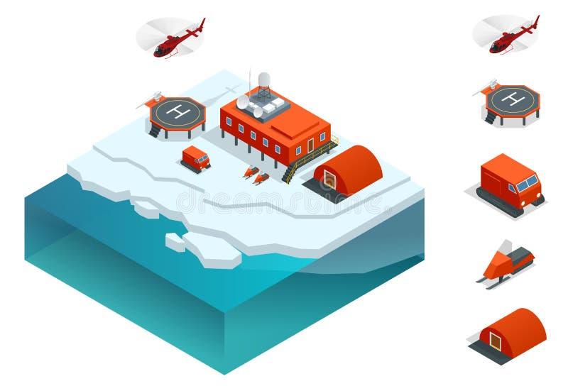 Isometric σταθμός της Ανταρκτικής ή πολικός σταθμός με τα κτήρια, μετεωρολογικός πύργος ερευνητικής μέτρησης, οχήματα διανυσματική απεικόνιση