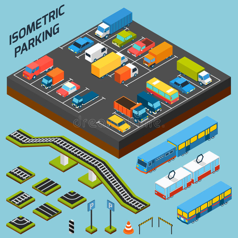 Isometric στοιχεία χώρων στάθμευσης ελεύθερη απεικόνιση δικαιώματος