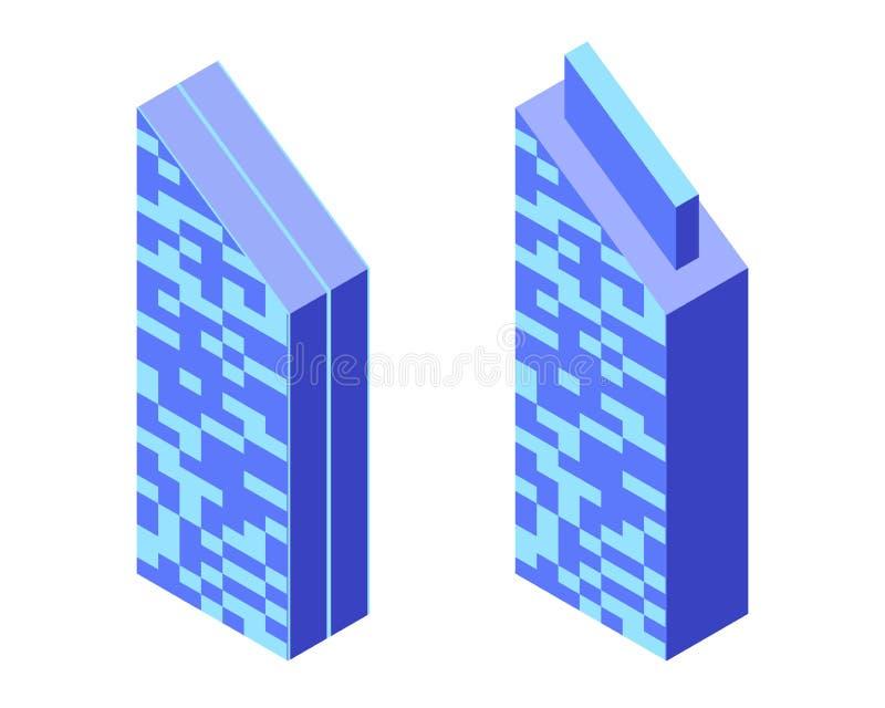 Φουτουριστικά κτήρια Isometric εικονίδια διανυσματική απεικόνιση