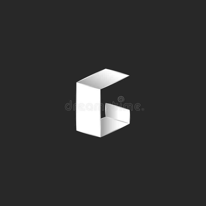 Isometric στοιχείο σχεδίου τυπογραφίας μορφής λογότυπων γραμμάτων Γ, διπλωμένο άσπρο λεπτό μινιμαλιστικό ύφος εγγράφου φύλλων απεικόνιση αποθεμάτων