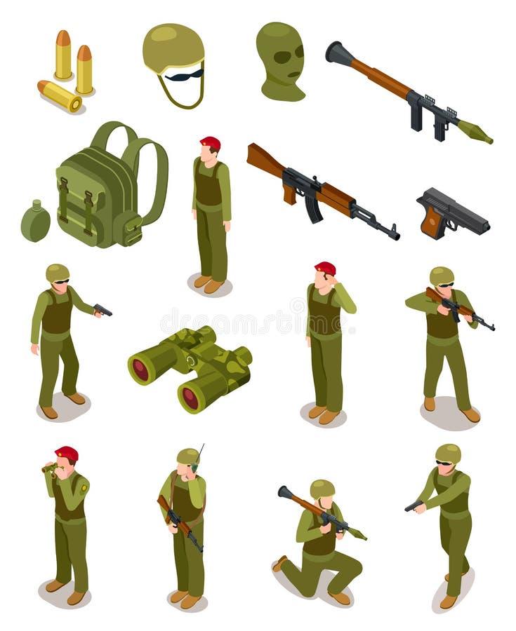 Isometric στρατιώτες Στρατιωτικές ειδικές δυνάμεις, πολεμιστές στο στρατό ομοιόμορφο, πυρομαχικά και όπλα τρισδιάστατο απομονωμέν ελεύθερη απεικόνιση δικαιώματος