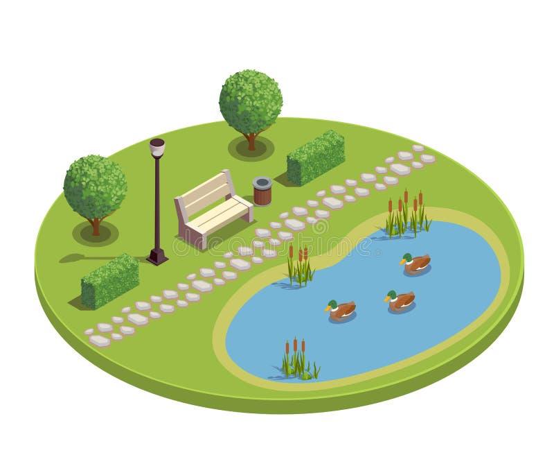 Isometric στρογγυλή σύνθεση πάρκων πόλεων διανυσματική απεικόνιση