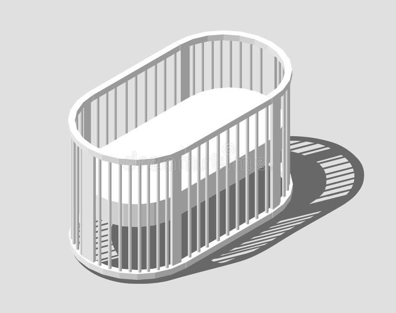 Isometric στρογγυλή άσπρη κούνια Παχνί μωρών Σύγχρονο σχέδιο νοσοκόμων Διανυσματική απεικόνιση eps 10 που απομονώνεται απεικόνιση αποθεμάτων