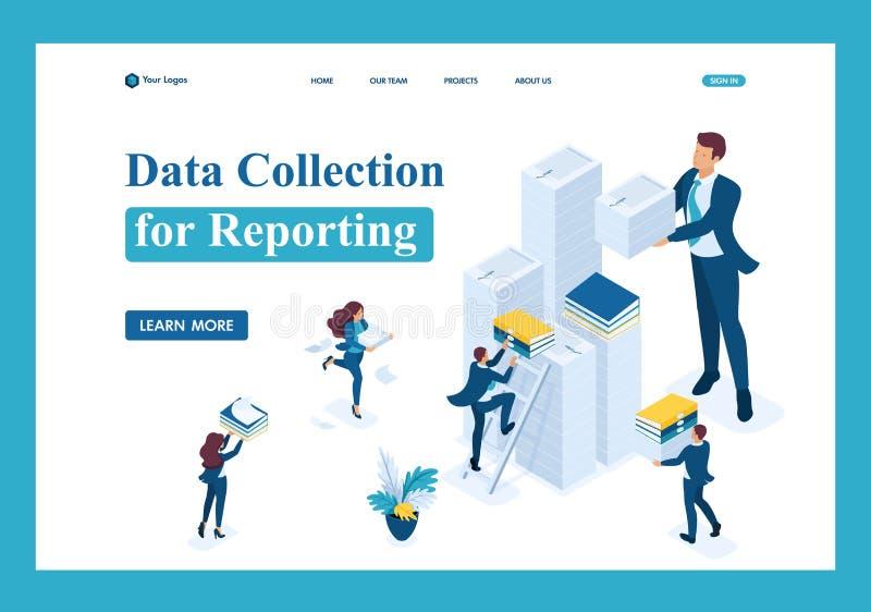 Isometric συλλογή δεδομένων για την υποβολή έκθεσης, λογιστικός έλεγχος διανυσματική απεικόνιση