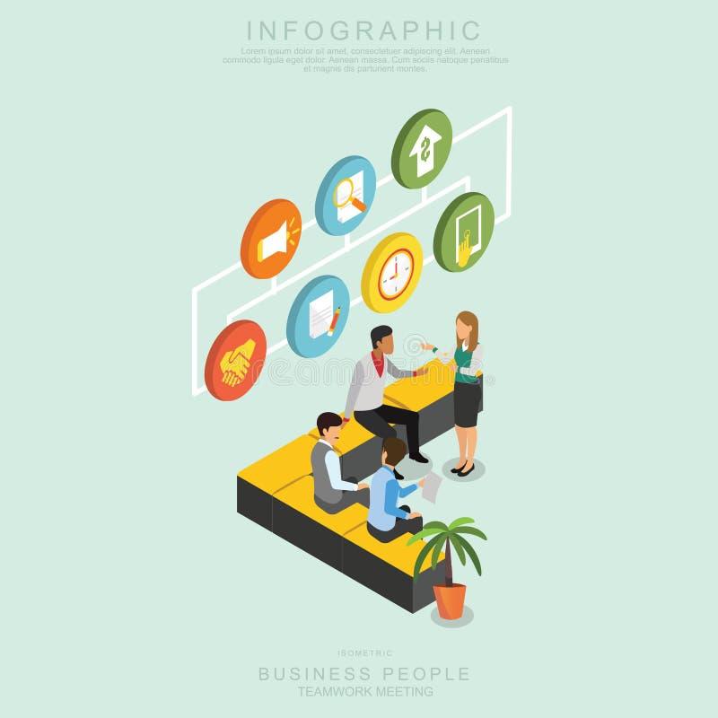 Isometric συνάντηση ομαδικής εργασίας επιχειρηματιών στην αρχή, ιδέα μεριδίου, infographic διανυσματικό σχέδιο καθορισμένο Π διανυσματική απεικόνιση