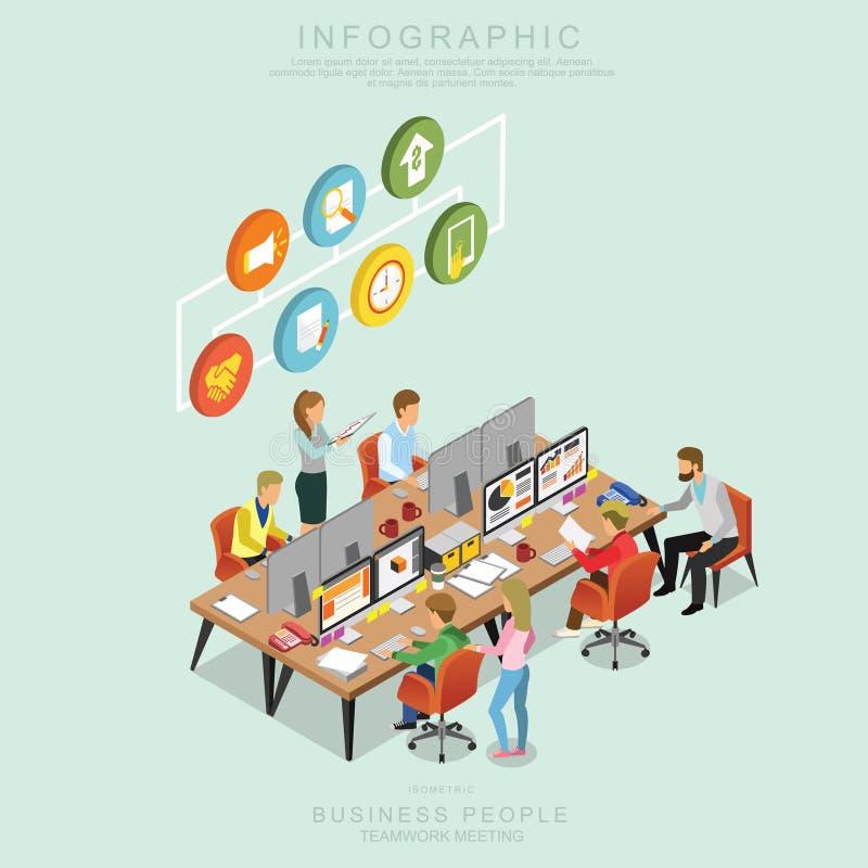 Isometric συνάντηση ομαδικής εργασίας επιχειρηματιών στην αρχή, ιδέα μεριδίου, infographic διανυσματικό σχέδιο το καθορισμένο Q ελεύθερη απεικόνιση δικαιώματος