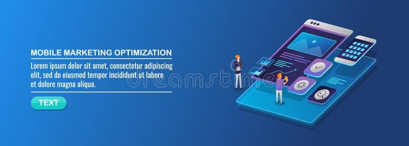 Isometric σχέδιο, κινητό μάρκετινγκ, κινητή βελτιστοποίηση seo, έννοια εφαρμογής μάρκετινγκ διανυσματική απεικόνιση