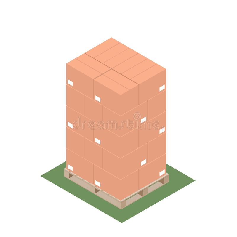 Isometric σχέδιο της παλέτας με τα συσσωρευμένα κιβώτια για την εξαγωγή απεικόνιση αποθεμάτων