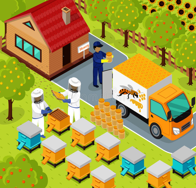 Isometric σχέδιο μελισσοκόμων μελισσουργείων μελισσών μελιού επίπεδο ελεύθερη απεικόνιση δικαιώματος