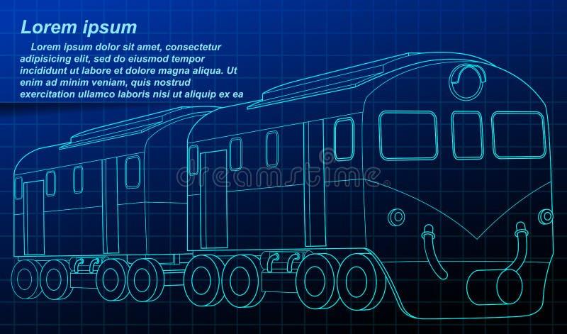 Isometric σχεδιάγραμμα τραίνων στο ύφος τεχνολογίας ελεύθερη απεικόνιση δικαιώματος