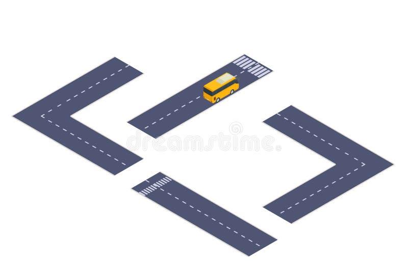 Isometric σχεδιαστής οδικών εθνικών οδών με το λεωφορείο απεικόνιση αποθεμάτων