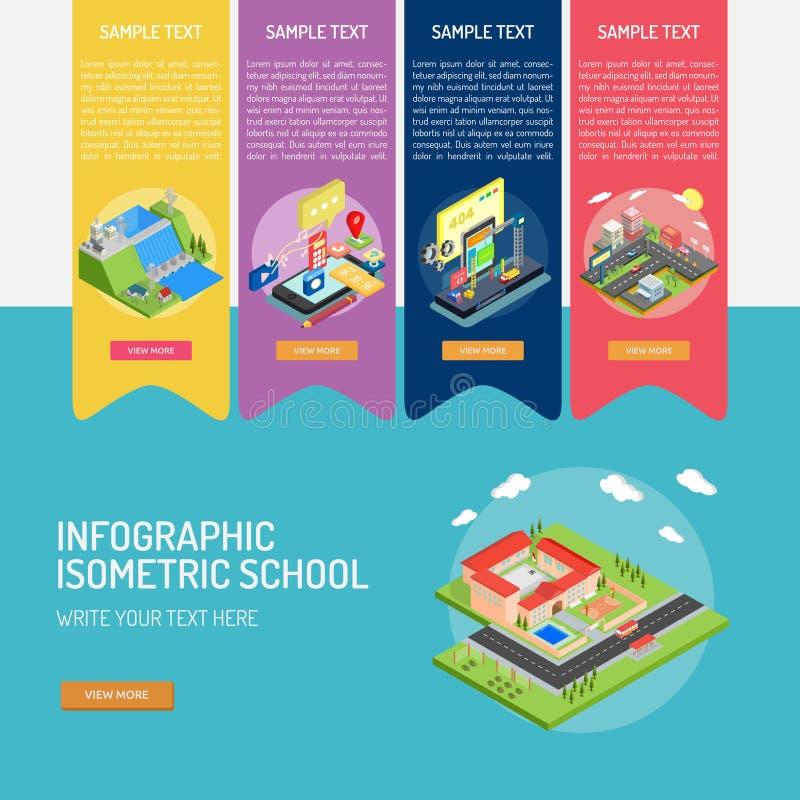 Isometric σχολείο Infographic απεικόνιση αποθεμάτων