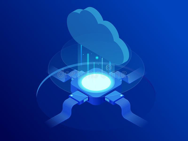 Isometric σύγχρονη έννοια τεχνολογίας και δικτύωσης σύννεφων Επιχείρηση τεχνολογίας σύννεφων Ιστού Διάνυσμα υπηρεσιών δεδομένων Δ απεικόνιση αποθεμάτων