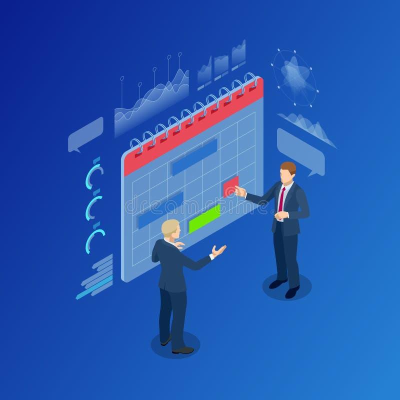 Isometric σύγχρονοι άνθρωποι που προγραμματίζουν την οργάνωση ημερολογιακών αρμόδιων για το σχεδιασμό επιχειρησιακής στρατηγικής απεικόνιση αποθεμάτων