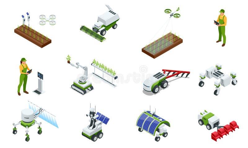 Isometric σύγχρονο έξυπνο βιομηχανικό θερμοκήπιο Σύνολο ρομπότ τεχνητής νοημοσύνης σε γεωργικό E ελεύθερη απεικόνιση δικαιώματος