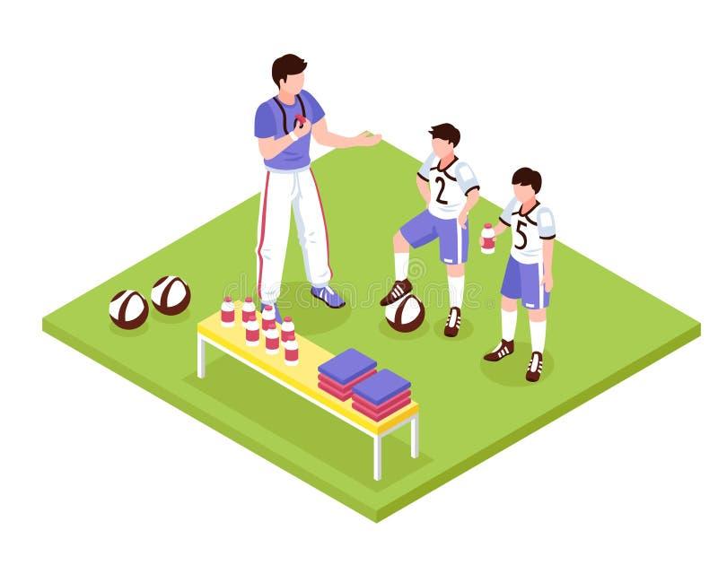 Isometric σύνθεση αθλητικών παιδιών απεικόνιση αποθεμάτων