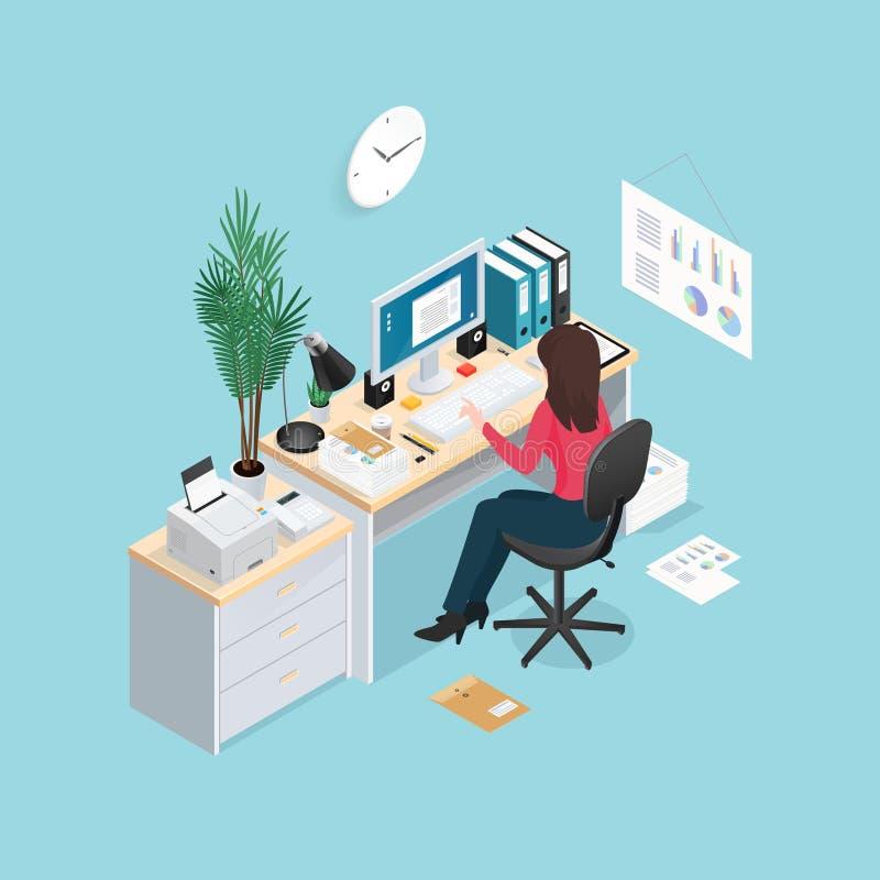 Isometric σύνθεση εργασιακών χώρων γραφείων διανυσματική απεικόνιση