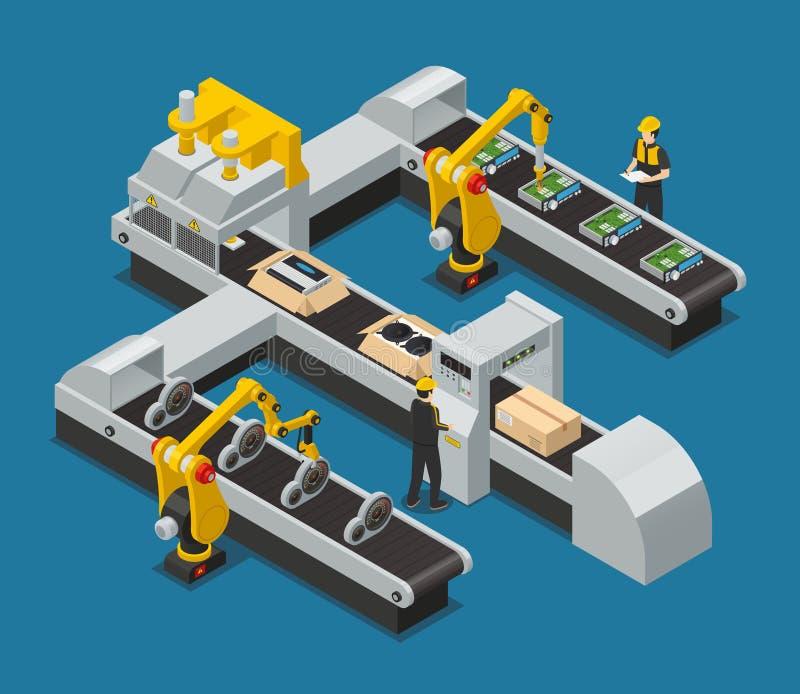 Isometric σύνθεση εργοστασίων Autoelectronics ηλεκτρονικής αυτοκινήτων διανυσματική απεικόνιση